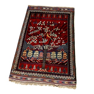 Antique Bahktiari Persian Rug Wedding Carpet Hand Knotted Birds Tree of Life For Sale