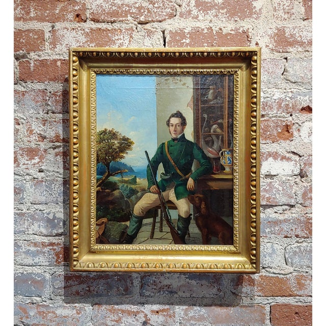 Blue Portrait of a Hunter W/His Dog-19th Century Italian School-Oil Painting For Sale - Image 8 of 8