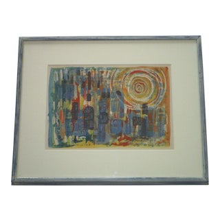 1960s Abstract Expressionist Shula Tal Mixed Medium Print For Sale
