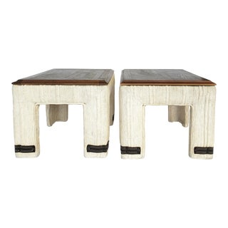 Adrian Pearsall Craft Associates Upholstered Side Table- a Pair For Sale