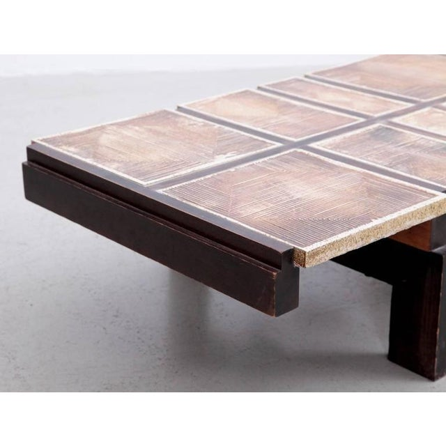 Wood Rare Signed Geometrical Ceramic Coffee Table by Roger Capron For Sale - Image 7 of 7