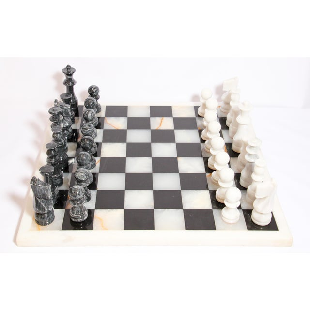 Vintage large heavy marble chess set complete board in white and black with chess set with elaborately onyx hand carved...