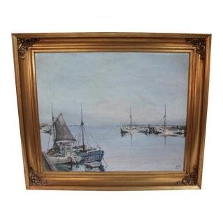 Boats at Harbor Original Painting