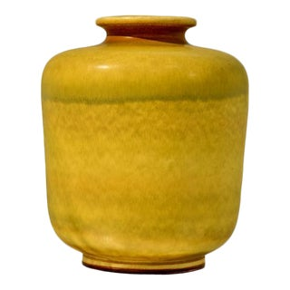Large Yellow Stoneware Vase by Berndt Friberg for Gustavsberg For Sale