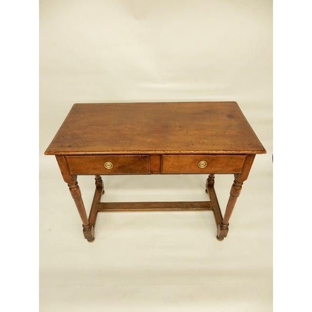 Italian walnut early 19th century side table/console with two drawers carefully restored to retain beautiful worn patina.