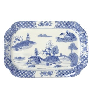 Antique Canton Blue and White Platter Signed Chinese Export For Sale