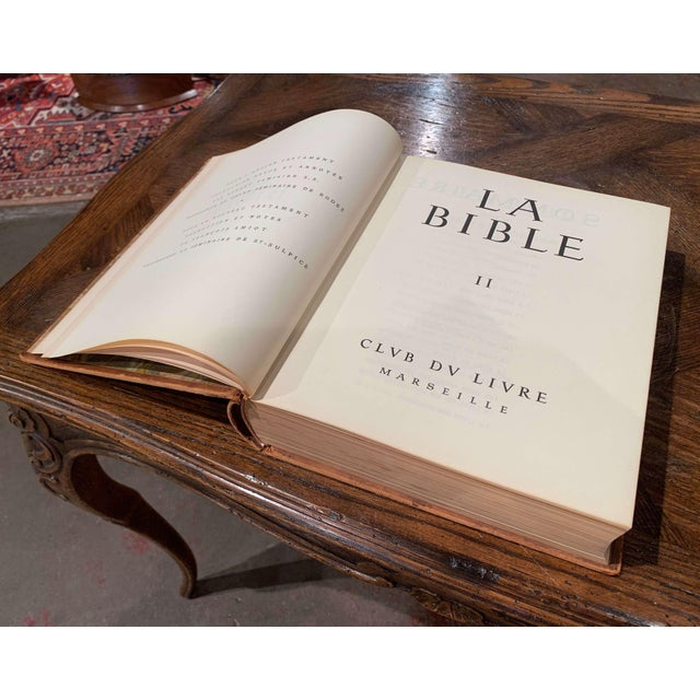 Mid-Century French Leather Bound Two-Volume Holy Bible Dated 1953 - Set of 2 For Sale - Image 10 of 13