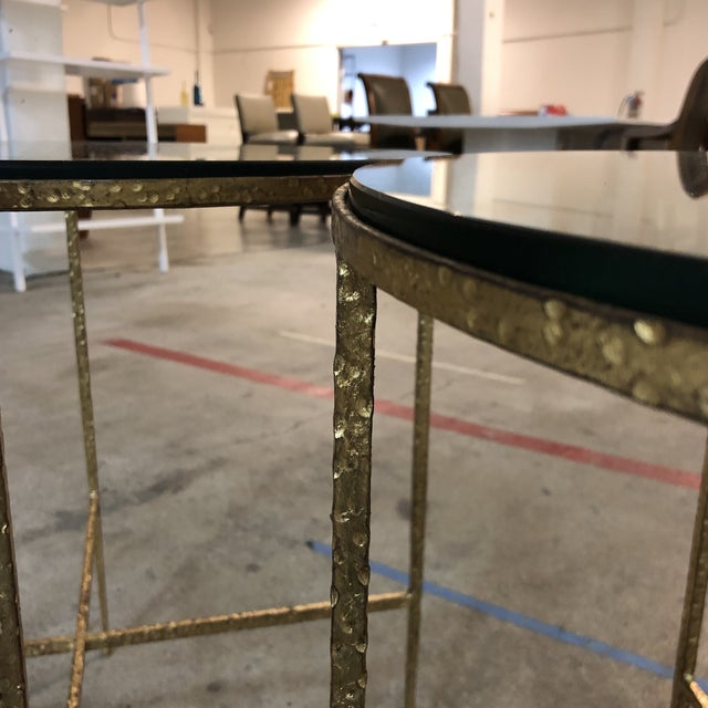 Pair of Custom Gold Finish Round Side Tables For Sale - Image 11 of 12