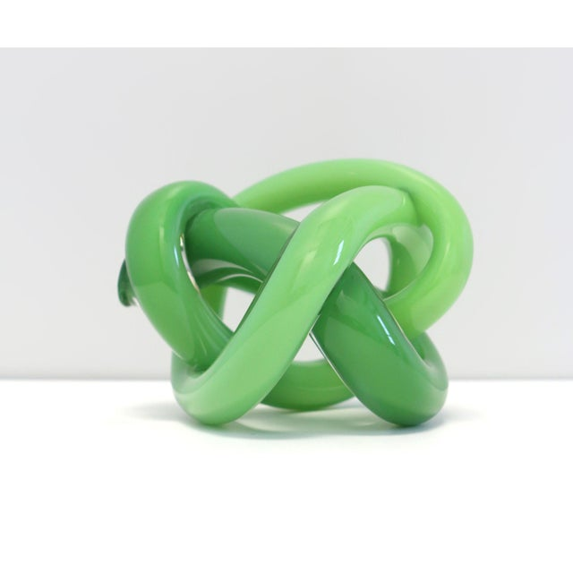 Contemporary Wrap Object Glass Knot - Dark Green For Sale - Image 3 of 3
