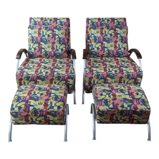 2002 Milo Baughman for Thayer Coggin Mid Century Modern Lounge Chairs Ottomans For Sale