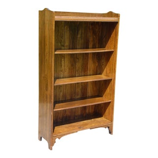 Vintage Solid Oak Bookcase Open Shelving Unit Display Cabinet Bookshelf For Sale