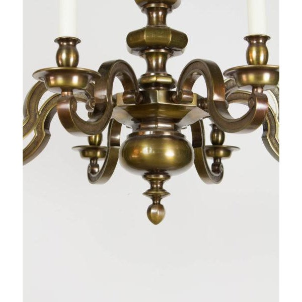 Gold Eight Light Antique Brass Chandelier For Sale - Image 8 of 9