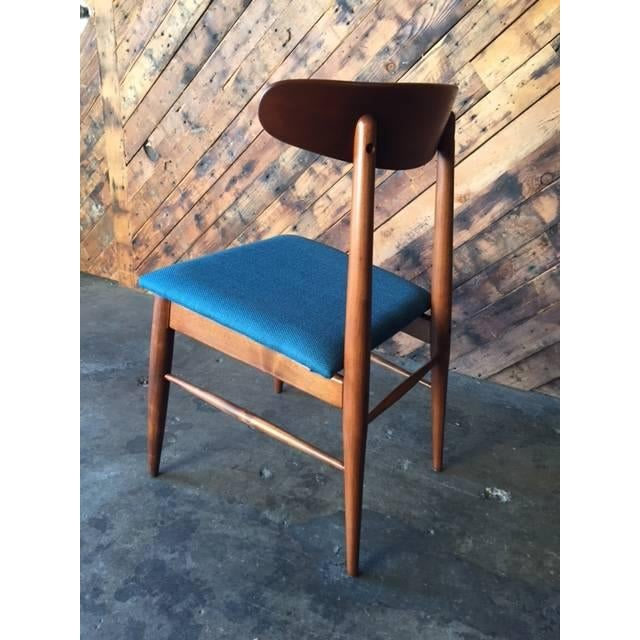 Mid Century Refinished Reupholstered Walnut Dining Desk Chair - Image 5 of 6