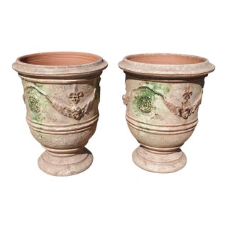 French Distressed Terra Cotta Planters - A Pair For Sale