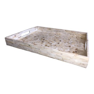 Large Home Lamina Gallery Tray With Herringbone Pattern For Sale