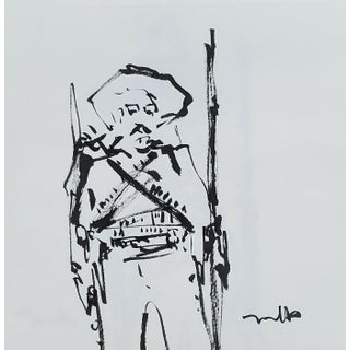 Contemporary Minimalist Ink Drawing of a Mexican Revolution Soldier by Jose Trujillo For Sale