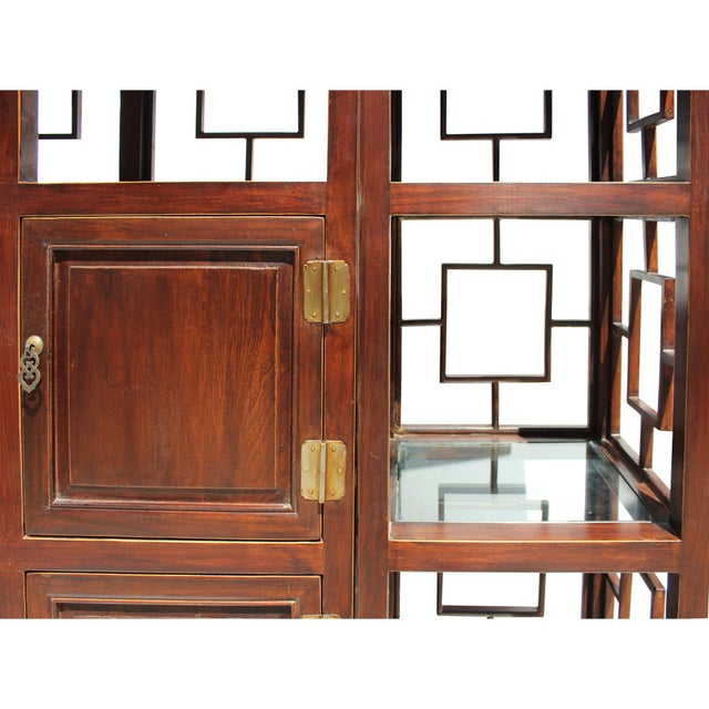 Wood Chinese Set of 3 Vintage Elm Wood Glass Shelf Display Curio Cabinet Room Divider For Sale - Image 7 of 8