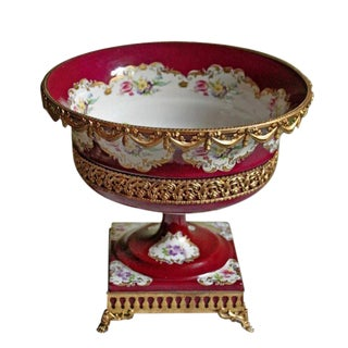 1990s Vintage Limoges French Hand Painted Porcelain Pedestal Bowl For Sale