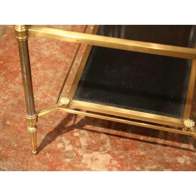 Mid-20th Century French Brass Steel and Leather Coffee Table from Maison Jansen - Image 9 of 9