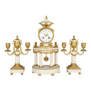 19th Century Louis XVI Style French Mantle Clock and Candelabras For Sale