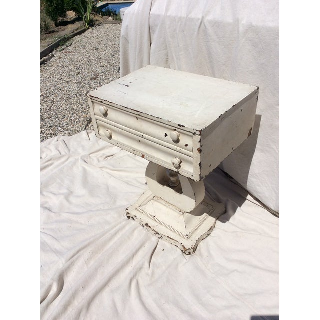 Wood Distressed White Painted Side Table For Sale - Image 7 of 10