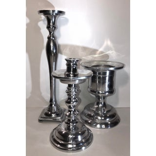 Polished Pewter Hollowware Candle Holders - Set of 3 Tall Silver Taper and Pillar Candle Holders Mexico Preview