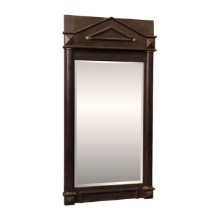 Wood Framed Arched Peaked Mirror With Beveled Glass For Sale