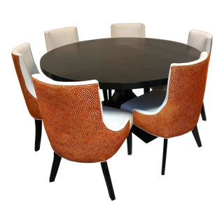 Noir Criss-Cross Dining Table & Custom Microsuede Chairs For Sale