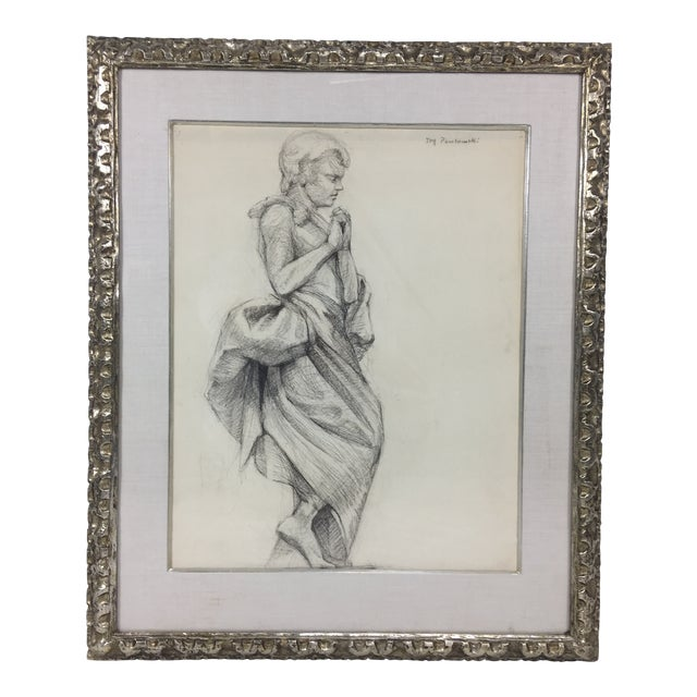 Academy Style Woman in Classical Dress Pencil Drawing For Sale