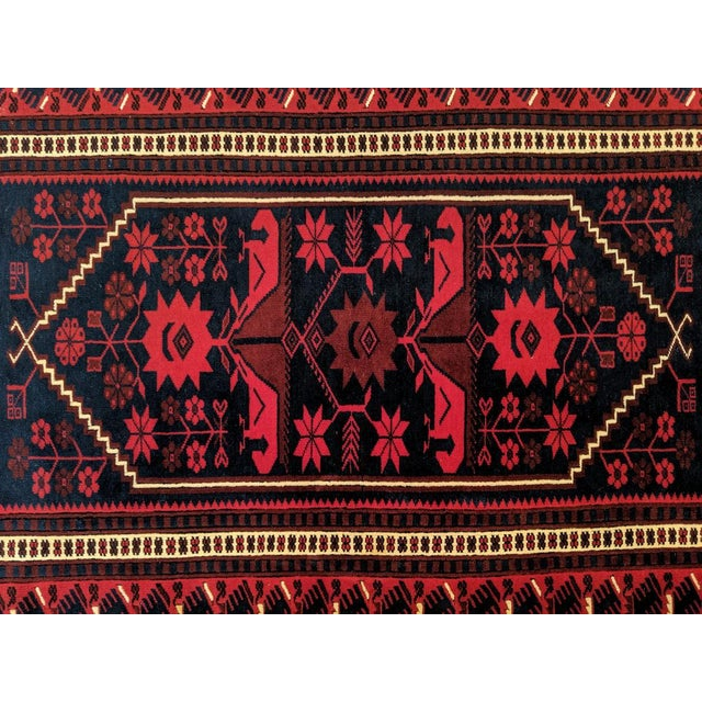 Persian, Hand- Woven Red Rug, With Braided Tassels, Vintage For Sale In Miami - Image 6 of 9