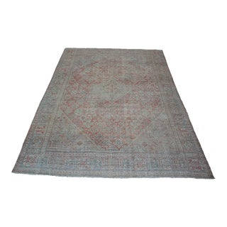 1900s Antique Red and Green Persian Rug For Sale