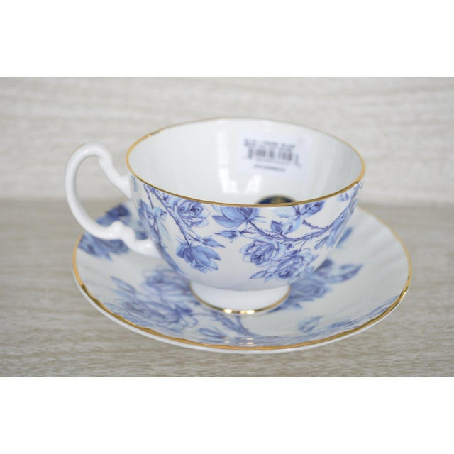 Rare and stunning Aynsley bone china Elizabeth Rose blue and white cups and saucers. Unused with labels. Set of six full-...