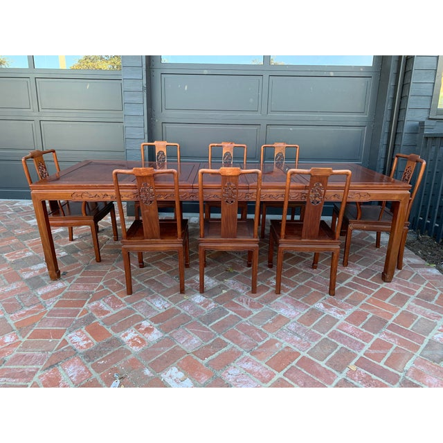 Very lovely 13 piece dining set. 2 arm chairs 21w x 21.5d x 37H- 6 dining chairs 17w x 19d x 37h - 3 leafs each measuring...