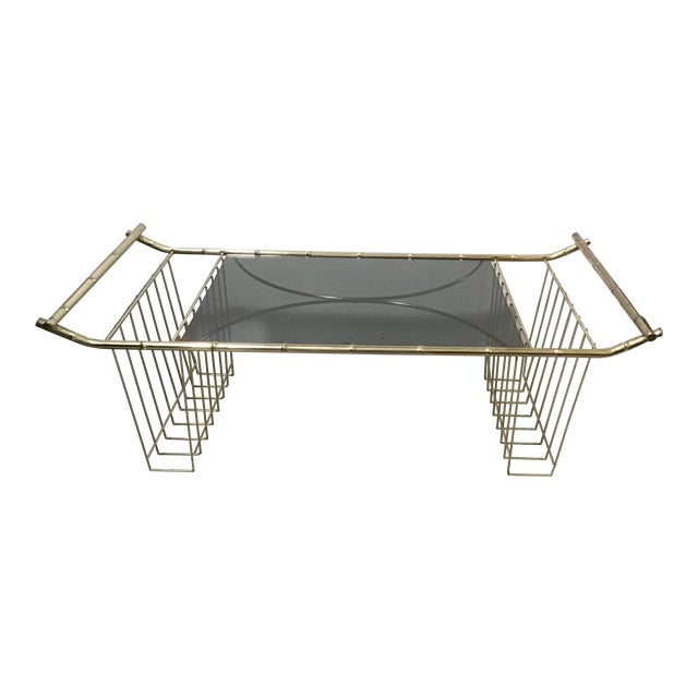 Mid-Century Faux Bamboo Brass Bed Tray Magazine Rack For Sale