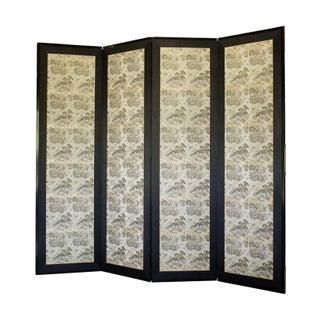 Asian Silk Four Panel Screen