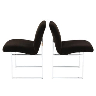 PAIR OF MILO BAUGHMAN CHROME AND MOHAIR SIDE CHAIRS For Sale