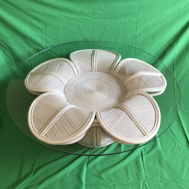 Tropical 1970s Mid Century Modern Gabriella Crespi / Franco Albini Style Rattan Pencil Reed Bell Flower Coffee Table With Glass Top For Sale - Image 13 of 13