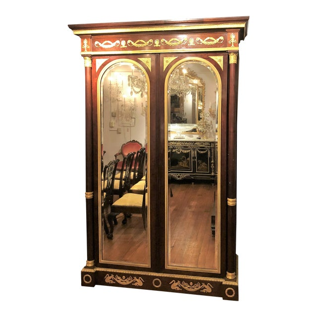 Empire Antique French Empire Mahogany Armoire With Bronze d'Ore Mounts, Circa 1850-1860. For Sale - Image 3 of 3