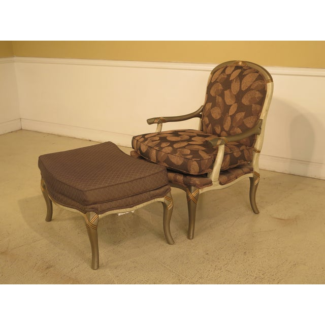 Item: 44226EC: Decorator Upholstered Arm Chair & Matching Ottoman Age: Approx: 10 Years Old Details: Clean Well Cared For...