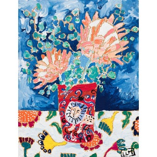 Protea Still Life With Enamel Lion Tumbler Painting For Sale