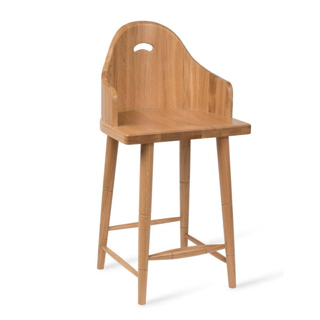 Not Yet Made - Made To Order Scooped Back Counter Stool in Natural Oak For Sale - Image 5 of 5