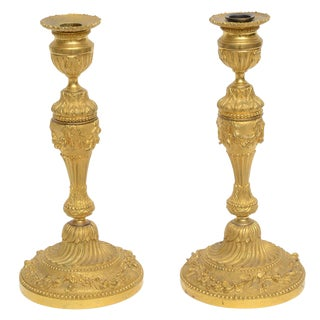 18th-C. French Gilt Bronze Candleholders - A Pair