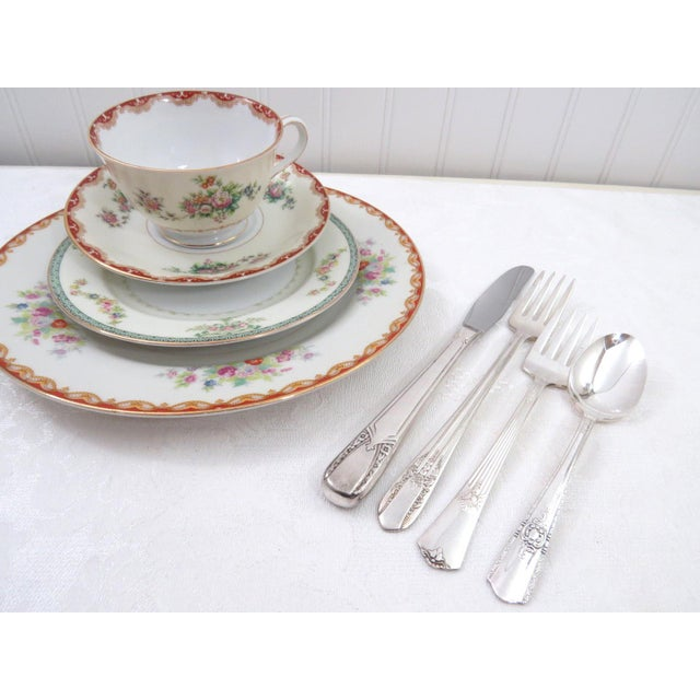 Vintage Mismatched Fine China & Silverware - Set of 32 - Image 8 of 11