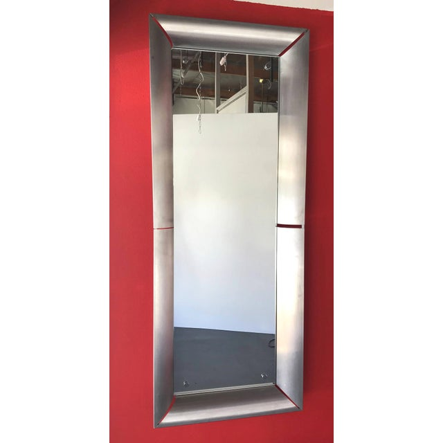 Italian vintage space age mirrors in brushed stainless steel, made in Italy circa 1970's. Height: 71 inches / Width: 28...