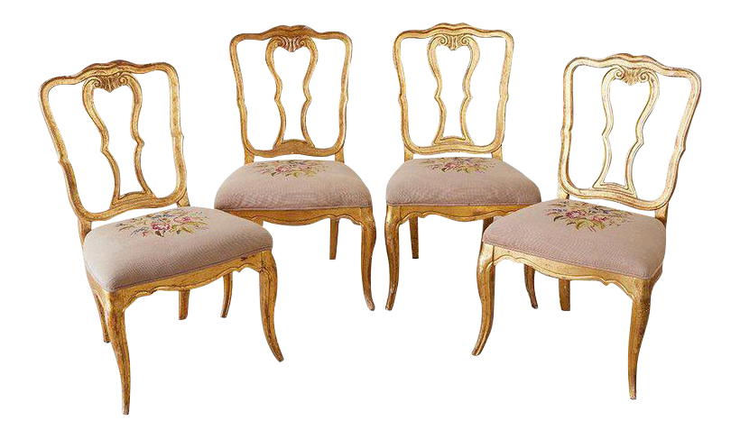 Set Of Four Italian Giltwood Venetian Style Dining Chairs For Sale