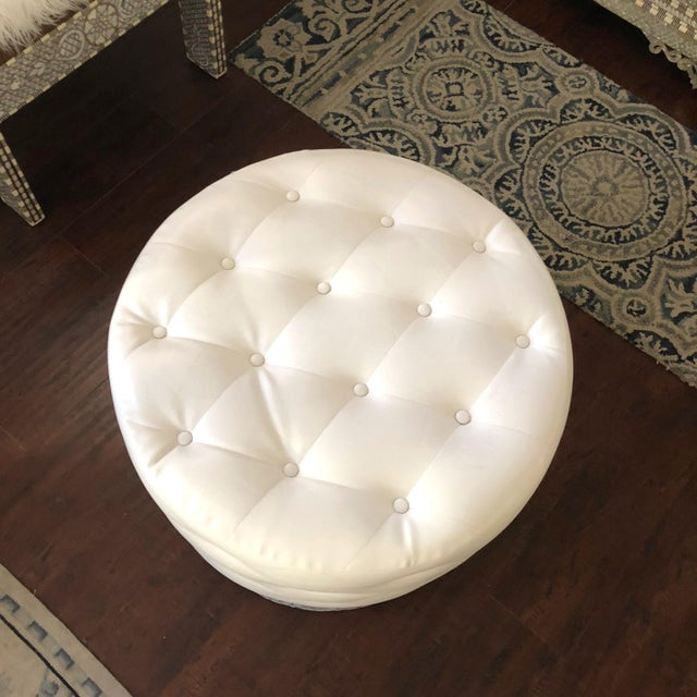 Leatherette Mother of Pearl Inlay Large Ottoman For Sale - Image 7 of 8