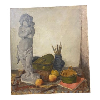 Vintage French Still Life Academic Style Painting For Sale
