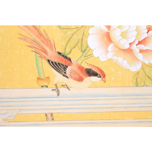 "1970's Chinoiserie Painting ""Pheasant on Fence"" Framed in Gold-Leafed Faux Bamboo For Sale - Image 4 of 6"