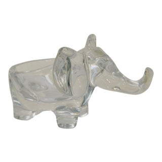 Late 20th Century Art Vannes Crystal Elephant Bowl For Sale