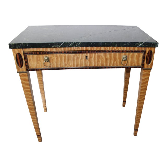 Antique Mid-19 Century American Side Table in Ribbon Satinwood and Marble For Sale